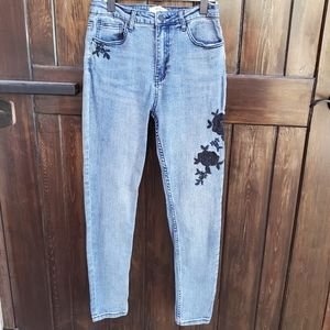 11 Inch High Rise Embroidered Floral Skinny Jeans